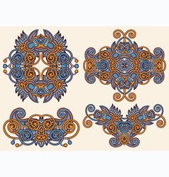four ornamental floral adornment vector image