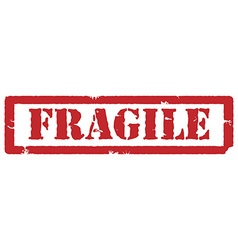 Fragile red stamp vector image