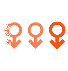 Fragmented dotted halftone impotence symbol icon vector