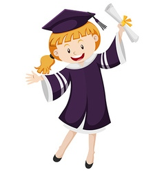 Girl in graduation gown holding degree vector