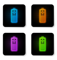 glowing neon battery charge level indicator icon vector image