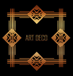 Golden art deco frame royal decorative geometric vector