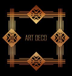 golden art deco frame royal decorative geometric vector image