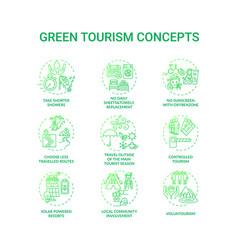 Green tourism concept icons set vector