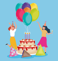 happy birthday dancing women with cake party hats vector image