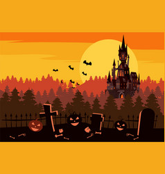 happy halloween pumpkin in the cemetery black vector image