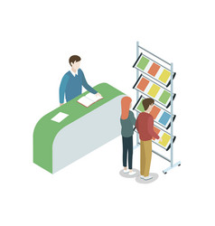 information stand at exhibition isometric element vector image