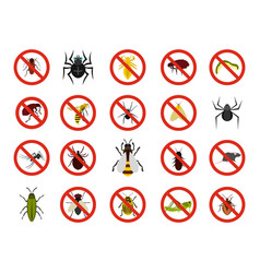 insects icon set flat style vector image