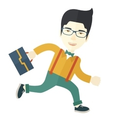 Japanese Worker with briefcase is running vector