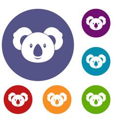 Koala icons set vector
