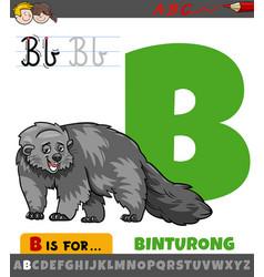 Letter b from alphabet with cartoon binturong vector