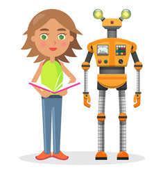 Little girl with book and iron robot vector