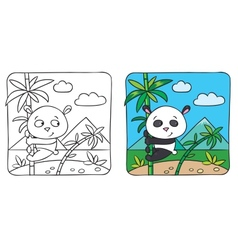 Little panda coloring book vector