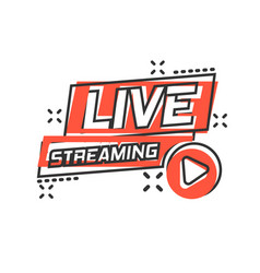 Live video icon in comic style streaming tv vector