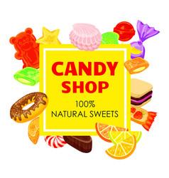 Lollipop candy shop concept background cartoon vector