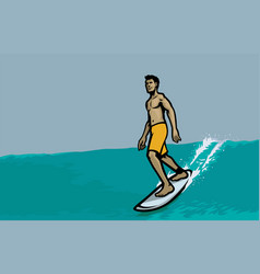 man ride surfing on waves vector image