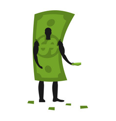 Money mascot man promoter male in dollar costume vector