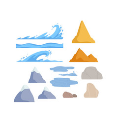 mountains rock stones waves nature landscape vector image