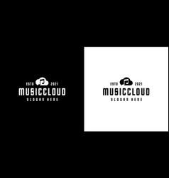 music cloud logo design silhouette style vector image