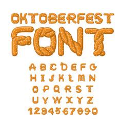 Oktoberfest font pretzel alphabet traditional vector