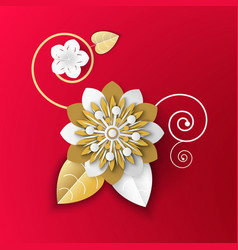 origami art flower made paper realistic plant vector image