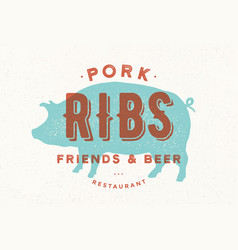 Pig pork poster for restaurant vector