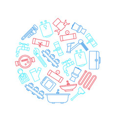 plumbing equipments and tools round design vector image