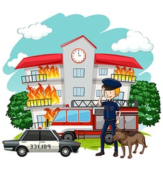 Policeman and dog at fire scene vector image