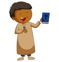 Priest holding a bible book vector