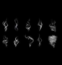 Realistic steam smoke icon set vector
