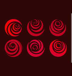 Red rose flower abstract stylized petal circle vector