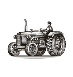 retro farm tractor sketch vintage vector image