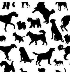 Seamless pattern with dog silhouettes vector