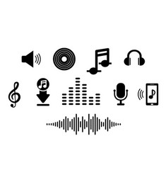 set music icon in flat for smart phone app vector image