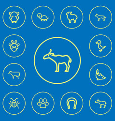 Set of 12 editable zoology outline icons includes vector