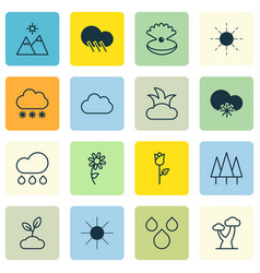 set of 16 nature icons includes raindrop cold vector image
