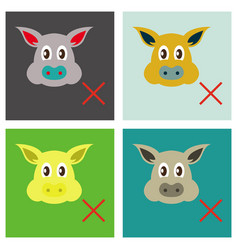 Set of flat icons of pig in graphic style hand vector