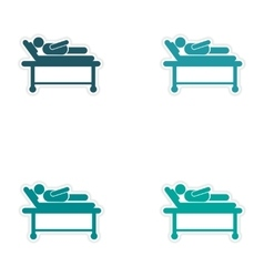 Set of stickers man in hospital bed on white vector