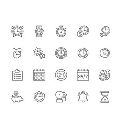 Set time management line icons calendar vector