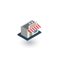 Shop building isometric flat icon 3d vector