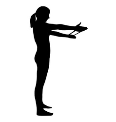 Silhouette of woman doing exercises vector image