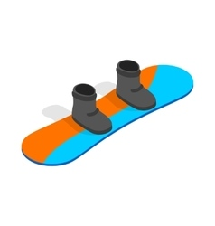 Snowboard with boots icon isometric 3d style vector
