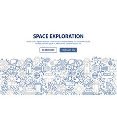 Space exploration banner design vector