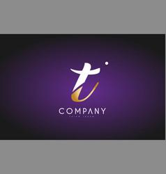 t alphabet letter gold golden logo icon design vector image