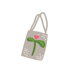 Textile tote bag zero waste reusable object eco vector