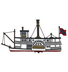 the historical paddle steamboat vector image