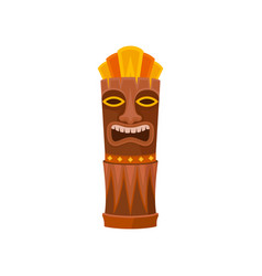 tiki god carved wooden statue symbol of hawaii vector image
