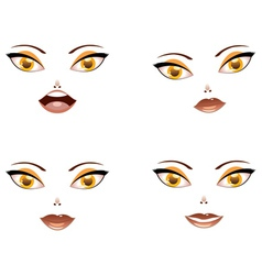 Toon female face with yellow eyes vector image