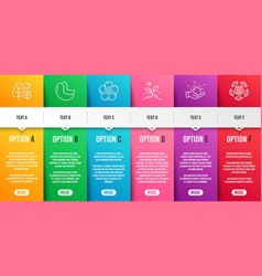 Tree sunny weather and natural linen icons set vector