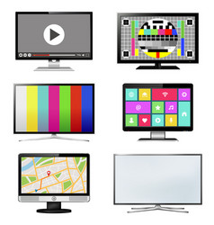 tv screen set isolated on white background vector image